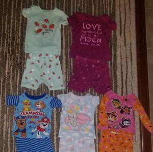 Lot of 5 pairs toddler girl 2T pajamas